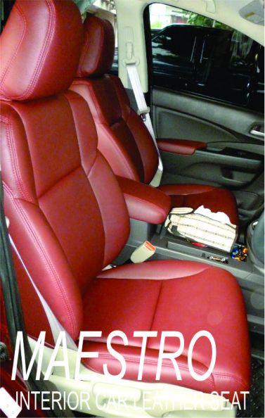 Tampilan interior mobil Honda All New CRV 2013 warna burgundy dengan