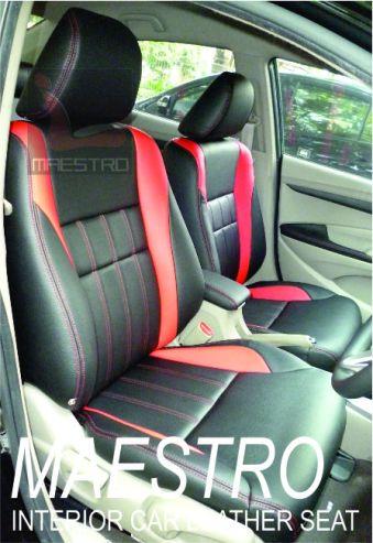 Tampilan interior Honda City dengan sarung jok paten dua warna merah