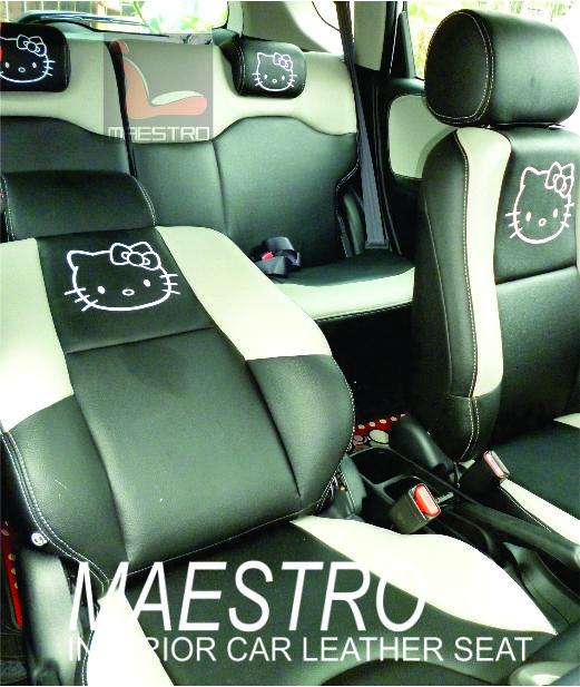 Sarung jok paten dengan bordir Hello Kitty untuk Honda Jazz RS 2013