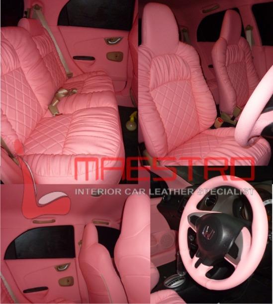 modif jok honda brio warna pink